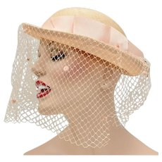 Mr. John Signed Salmon Pink Large Faille Fabric Bow w/ Removable Feather Cloche Hat w/ Netting