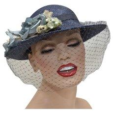 Blue Cloche Women's Hat w/ Flowers & Netting