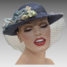 Navy Blue Straw Cloche Women's Hat w/ Dusty Blue Flowers & Netting
