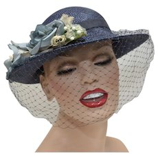Navy Blue Straw Cloche Women's Hat w/ Dusty Blue Flowers & Netting