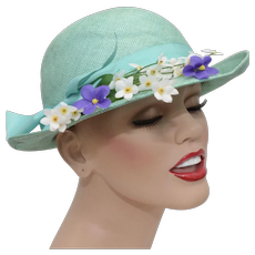 Turquoise Blue Ladies Cloche Hat w/ Large Bow & Flowers