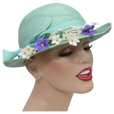Turquoise Ladies Cloche Hat w/ Large Bow & Flowers