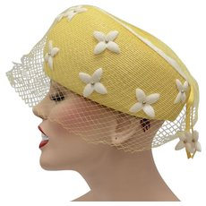 Coralie Signed Canary Yellow Pillbox Ladies Hat w/ White Flowers & Netting