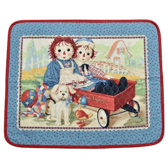 """Raggedy Ann & Andy """"Express"""" Red Wagon & Toys Child Nursery Bedding Coverlet/ Small Quilt"""
