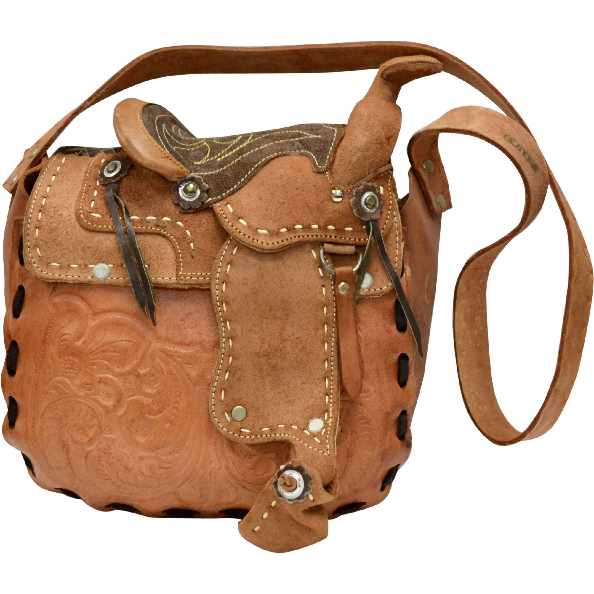 544cdb0bca Rare   Unusual Stamped Mexico Tooled Genuine Leather Saddle Bag Purse    Kitsch   Couture