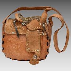 39df669aa34b Rare   Unusual Stamped Mexico Tooled Genuine Leather Saddle Bag Purse