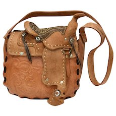 Rare & Unusual Stamped Mexico Tooled Genuine Leather Saddle Bag Purse