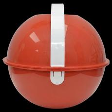 Circa 1970s Signed Ingrid Red Globe Picnic Ball w/ Plates Set