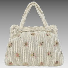 Signed Corde-Bead Lumured White Egg Bead & Embroidered Flower Handbag Purse