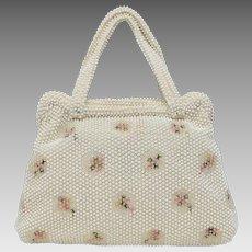 Signed Corde-Bead Lumured White Egg Bead & Embroidered Flower Handbag Purse