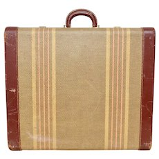 "Circa 1930s Rauchbach Monogrammed ""E.C.G.""  Striped Fabric Suitcase Luggage w/ Brass Hardware, Leather Trim & Handle"