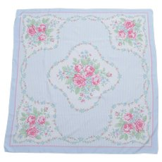 "Avon Signed Large 35 x 33"" Blue, Pink, & White Pastel Square Polyester Scarf - Made in Italy"