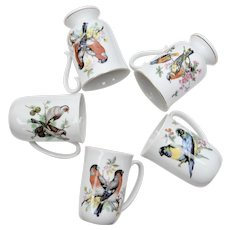 Set of 5 Himark Colorful Bird White Porcelain Mug Set, Includes 2 Footed Pedestal Mugs
