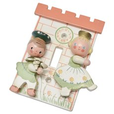 Circa 1960s Irmi Nursery Plastics Boy & Girl Kitsch Cute Switch Plate Light Cover