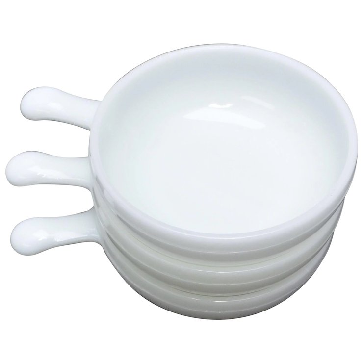 Set of 3 Glasbake Milk Glass Lug Handle Chili Bowls : Kitsch ...