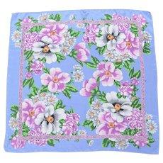 Oscar de la Renta Signed Blue w/ Pink & White Flower Scarf