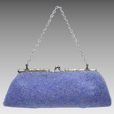 Iridescent Purple Glass Bead Kiss-lock Evening Bag Clutch Purse