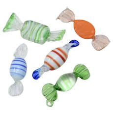 Murano Glass Set of 5 Colorful Glass Candy/ Candies - Great Display for Valentine's Day
