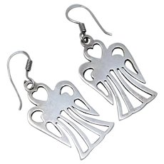 """Signed """"Mexico"""" Sterling Silver Angel Dangle Earrings"""