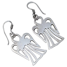 "Signed ""Mexico"" Sterling Silver Angel Dangle Earrings"