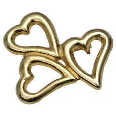 Signed AAI Goldtone Three Hearts Pin/Brooch