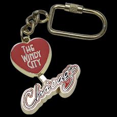 """""""The Windy City"""" Chicago Large Enamel 3D Mechanical Destination Souvenir Travel Keychain"""