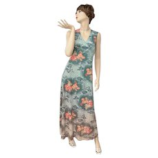 Jade Green Ombre Hawaiian Floral Pattern Sleeveless Maxi Dress