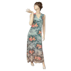 Jade Green Fade to Taupe w/ Floral Pattern Maxi Dress