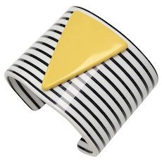 Circa 1960s Mod Pop Art Black & White Striped Cuff Bracelet w/ 3D Yellow Triangle
