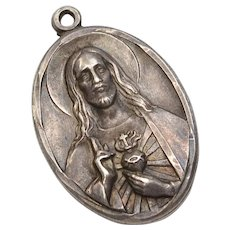 Sterling Silver Jesus & Mother Mary Flip Medallion/Pendant