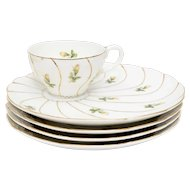 Signed Yamaka Japan 5-Pc White Porcelain Yellow Flower Gold Trim China Set ~ Includes 1 Cup & 4 Saucer / Snack Plates