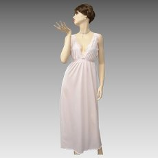 Undercover Wear Blush Pink Deep-V w/ Lace Trim Maxi Nightgown