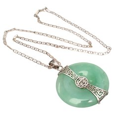 Sterling Silver & Apple Green Jade Pendant Chain Necklace