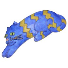 Huge Cobalt Blue & Yellow Chevron Enamel on Sterling Silver Cat Hair Barrette