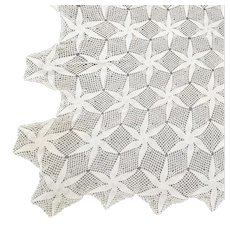 Large Off-White Star or Flower Design Crochet Bedspread, Tablecloth or Blanket