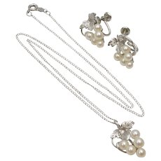 Belair Sterling Silver Freshwater White Pearl Grape Cluster Screw-back Earring & Necklace Demi-Parure Set w/ Box