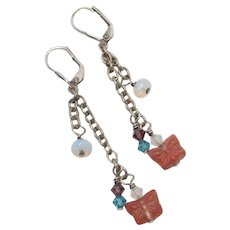 Sterling Silver Opalescent & Colorful Dangle Bead Earrings