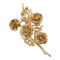 "Signed ""Coro"" Goldtone Flowers, Berries & Branches Pin/Brooch"