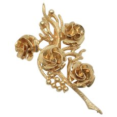 """Signed """"Coro"""" Goldtone Flowers, Berries & Branches Pin/Brooch"""