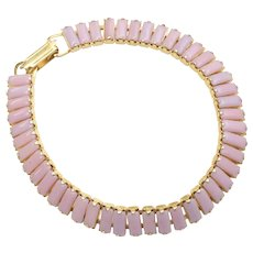 Signed Leru Prong-Set Pink Glass Goldtone Tennis Bracelet