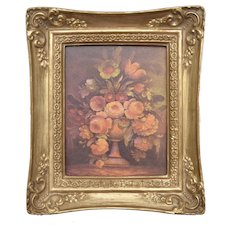 Small Flower Bouquet Oil Painting Art Print w/ Decorative Frame
