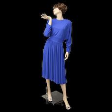 "Signed ""Adele Simpson New York"" Stunning Cobalt Blue Dolman Sleeve Dress - Size 12"