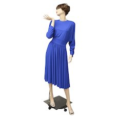 "Signed ""Adele Simpson New York"" Stunning Cobalt Blue Dolman Sleeve Dress - Size 12"