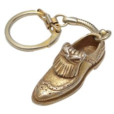 "Signed ""Foot-Joy"" Gold-tone Golf Shoe Keychain"