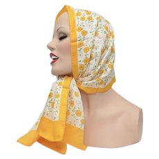 """43"""" Long Japan Made Yellow & White Flowers Head or Neck Scarf"""