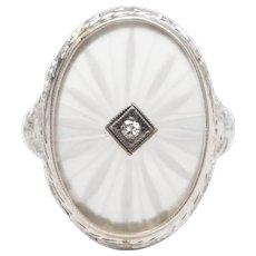 Art Deco 14K White Gold Camphor Glass w/ Diamond Filigree Ring ~ Size 6.25