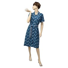 """Signed """"Brief Notes Your Nicer Half"""" Blue Collared Shirt Dress"""