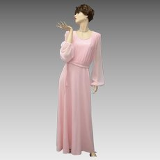 Baby Pink Maxi Gown w/ Sheer Sleeves & Waist Tie