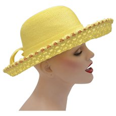Yves Saint Laurent Signed Yellow & Orange Woven Wide Brim Hat