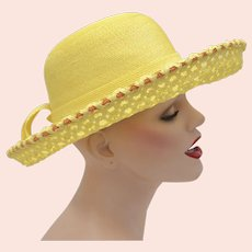 c1960s Yves Saint Laurent Paris New York Designer Yellow w/ Orange Accents Netted & Woven Straw Wide Brim Hat